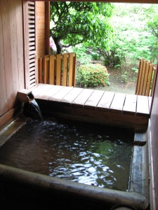 Bath time - a private onsen at a ryokan in Kyushu