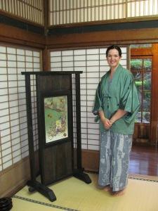 Wearing traditional robe known as yukata