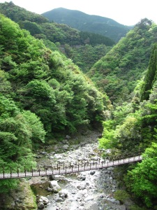 One of the suspension bridges in Gokanosho, Kumamoto