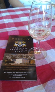 Enjoying a Reisling at Pooley's Winery