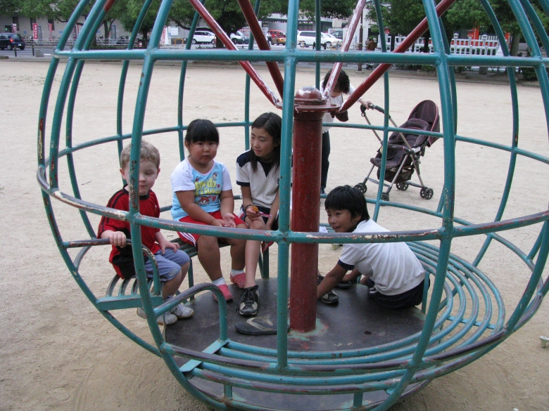 Playground next to Himeji Castle - playing with local Japanese children