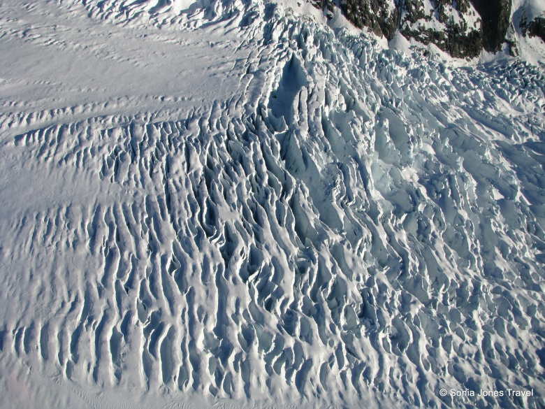 The ripple of the glacier from above - Fox Glacier, NZ