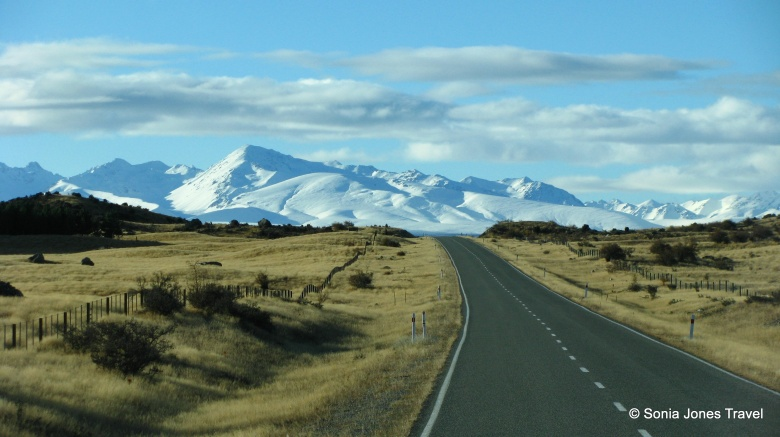 The approach to Mt Cook - undulating mountains.