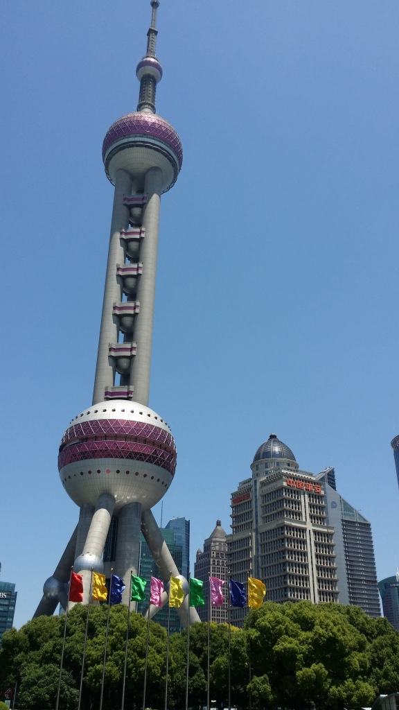 An off-centre view from below of the Oriental Pearl Radio & TV Tower, Shanghai