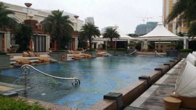 Poolside at the luxurious Banyan Tree Macau
